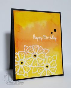 handmade birthday card: CAS Mix Up entry from Kylie ,, white embossed flowers and sentiment on a bright yellow and orange watercolor look background ... luv how the black mat holds it in ... Stampin' Up!