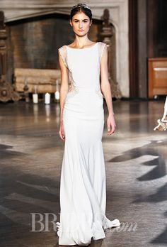 Style BR 15-27 Inbal Dror Wedding Dress - Fall 2015 Collection - Silk and Crepe Sheath with Beaded Lace Details