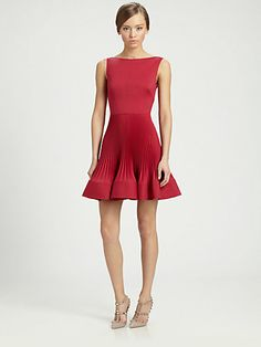 Valentino - Techno Couture Plissé Dress - Shop your favorite fit & flare dresses at Saks! http://www.saksfifthavenue.com/The-Moment/Fit-and-Flare-Dresses/shop/_/N-52jr29/Ne-52iqfl