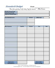 Free Printable Household Budget Form  Budget Forms Household And