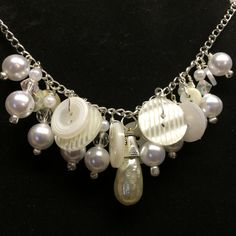 Vintage Mother of Pearl Button and Bead Necklace by BornAgainButtons on Etsy, $24.00