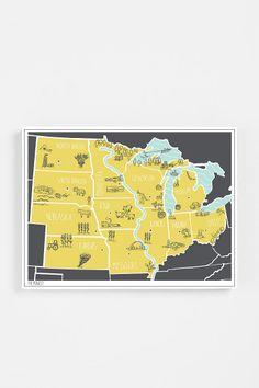 Brainstorm Regional Map Print, plot a vacation!