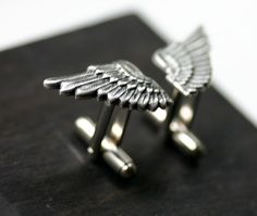 SALE Silver Angel Wing Cufflinks by robinhoodcouture on Etsy Eagle Wings, Dark Grey Color, Falling Apart, Antique Silver, I Shop, Plating, Cufflinks, Angel, Etsy