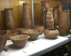 A rather remarkable, if old fashioned, display of pottery from the Egyptian prehistoric Amratian culture (corresponding to Naqada I), which lasted from about 4000 to 3500 BC. Petrie Museum of Egyptology, University College, London. Photo Credit: Clio Ancient Art and Antiquities