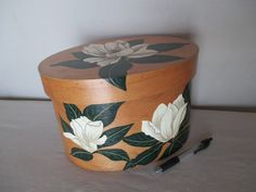 Oval Box Hand Painted Magnolia Blossoms Vintage by HobbitHouse