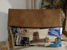 Cluch cm alça amovivel em tecido e napa made in portugal