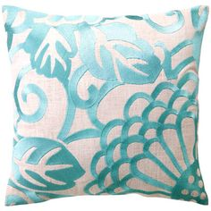 DL Rhein Chrysanthemum Robin's Egg Embroidered Pillow