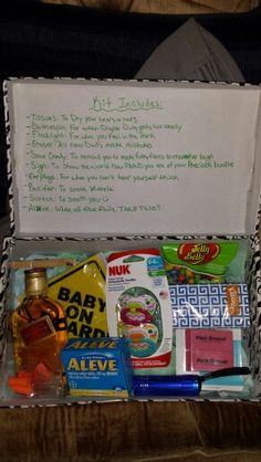 New Dad Survival Kit  I took a shoe box and used some mustache duct tape and then filled it with goodies! :)