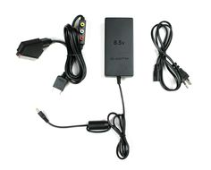 Playstation 2 RGB Scart Kabel+AC ADAPTOR 8,5V,Netzteil,Stromkabel für PS2 Neu!