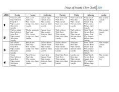 House of Bennetts chore-chart for adults. Chore chart for adults.