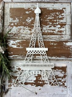 Eiffel Tower Iron Wall Plaque Distressed Shabby by CamillaCotton, $28.00