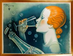 Monnier, Henry de, Celebrated French Lithograph Poster Artist of the 1930s, Art Deco Period. Source Verdier Verdier Mineral Water, 1931.