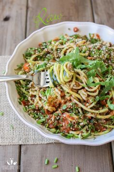 Raw zucchini noodles and veggies - minus hemp seeds