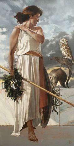 ATENEA (Olímpico). Virgen diosa de la sabiduría, la artesanía, la defensa y la guerra estratégica. Los símbolos incluyen la lechuza y el olivo. Hija de Zeus y de la oceánide Metis, surgida de la cabeza de su padre totalmente adulta y con armadura de combate completa después de que este se hubiera tragado a su madre.