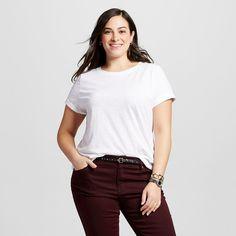 Women's Plus Size Crew Neck Tee Fresh White 4X - Ava & Viv