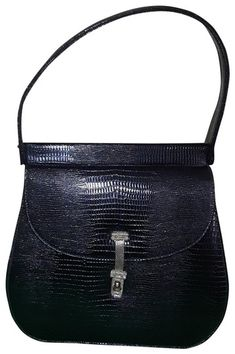 f973fef44633 Gorgeous Vintage unbranded sturdy black Handbag in lizard leather or could  just be lizard embossed. Adorned with a mesh brass closure. Such a beauty.