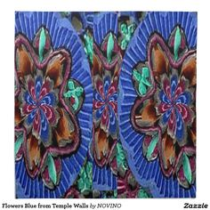 Flowers Blue from Temple Walls Napkin