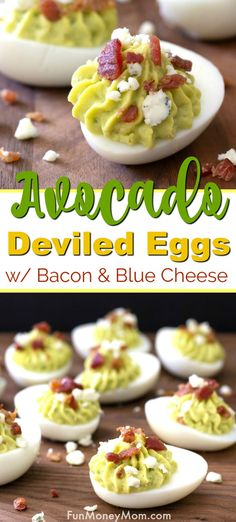 Avocado Deviled Eggs - This deviled egg recipe is perfect for parties or even leftover Easter eggs! The combination of deviled eggs with avocados, bacon and blue cheese will make your mouth water! This egg recipe makes a great party food or appetizer too! Easter Deviled Eggs, Avocado Deviled Eggs, Deviled Eggs Recipe, Hoppy Easter, Bite Size Appetizers, Best Appetizers, Appetizer Recipes, Easter Recipes, Egg Recipes