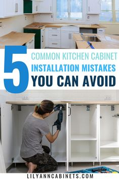 Install your kitchen cabinets THE RIGHT WAY by avoiding these common mistakes! Save time, energy and money by ensuring you are prepared for installation. Don't install cabinetry without reading this! Lily Ann Cabinets is your premiere resource for all things cabinetry. Visit our website to learn more. | #KitchenCabinets | DIY | How | Counter Tops | Tutorials | Cupboards | Open Shelving | Stove | How to build | Pantries | Lily Ann Blog