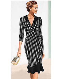 Women's+Vintage+Deep+V+Dress+,+Cotton+Blends+Knee-length+¾+Sleeve+–+USD+$+14.99