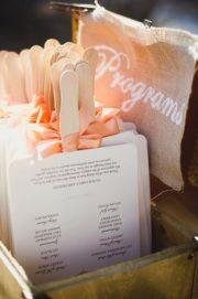 Fan programs | Inspiration Board | Peach Whimsical Wedding | Hageman House via Mount Rose Station