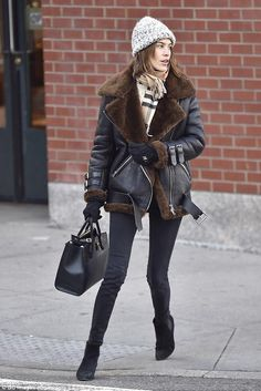 Alexa Chung wearing Acne Velocite Jacket, Louis Vuitton City Steamer PM Bag and Burberry Classic Cashmere Scarf
