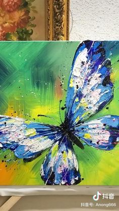 Canvas Painting Tutorials, Acrylic Painting Canvas, Butterfly Acrylic Painting, Knife Painting, Pour Painting, Painting Abstract, Canvas Painting Designs, Acrylic Painting Inspiration, Painting Videos