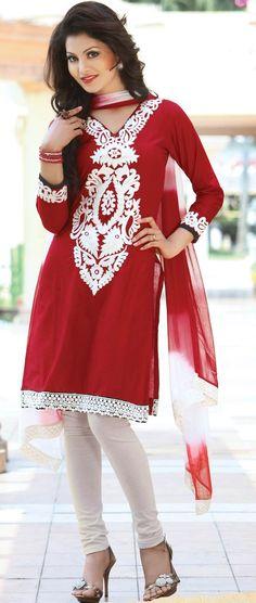 #Red #Cotton Churidar Kameez with Dupatta @ $48.35