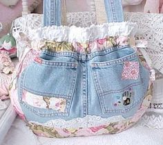 Denim Blue Jean Patches Chenille Purse by MadeInTahoe on Etsy