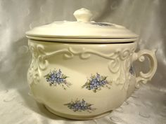 Vintage 3 Piece Chamber Pot Blue Victorian by EstateVintTreasures, $98.00
