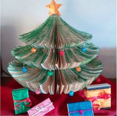 Upcycled Christmas tree made from an old book.