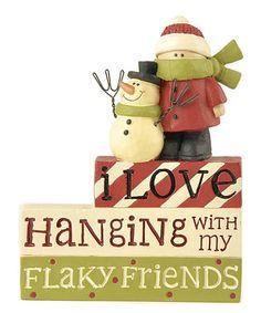 Look at this #zulilyfind! 'I Love Hanging' Snowman & Friend Figurine #zulilyfinds