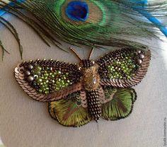 Вышиваем бисером элегантную бабочку. Часть вторая - Ярмарка Мастеров - ручная работа, Beautiful Handstitched butterfly/moth tutorial part 2