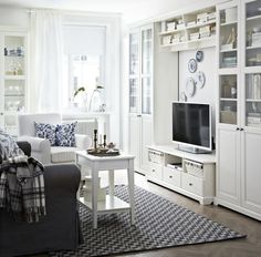 living room - Ikea everything: Banc TV, Besta, Billy, Hemnes, Liatorp...