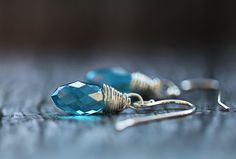Sky Blue Crystal Earrings Crystal Topaz by ClaudetteTreasures