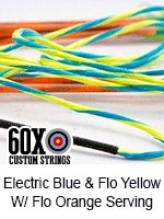 electro blue with fluorescent yellow and fluorescent orange serving bow string