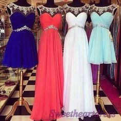 Cute round neck high waist prom dresses for teens, brudesmaid dresses,homecoming dress for #prom2015 -> http://sweetheartdress.storenvy.com/products/13812012-multi-colors-cute-high-waist-round-neck-a-line-handmade-prom-dress