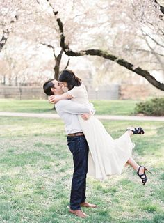 Spring Cherry Blossom Couples Session   Real Weddings   OnceWed.com #engagement #portrait #photography