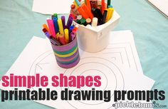 Encourage your kids to draw without drawing for them with these drawing ideas for kids - printable shape drawing prompts...