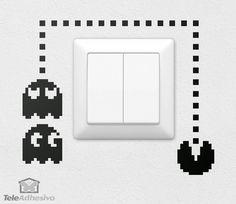 Creative Wall Painting, Wall Painting Decor, Mural Wall Art, Creative Walls, Wall Stickers, Wall Decals, Deco Gamer, Bedroom Door Decorations, Super Mario Art