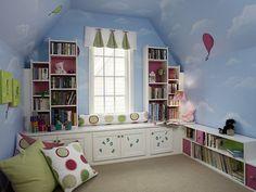 attic children's room   Attic childrens room with blue walls
