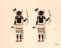 Buffalo Dancers  ca. 1930-1940 Awa Tsireh Born: San Ildefonso Pueblo, New Mexico Died: San Ildefonso Pueblo, New Mexico watercolor and ink on paper sheet: 11 x 14 in. (28.0 x 35.6 cm)