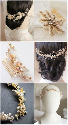 Gold bridal headpieces - handmade details, freshwater pearls and sparkly crystals | Percy Handmade