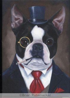 Boston Terrier Gentleman dog art magnet, via Etsy. How very distinguished :)