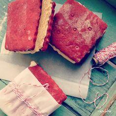 red velvet sugar cookie ice cream sandwiches