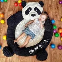 "Arm Crochet Pattern pool or mat Panda ""Chan LI"", gift idea, loop yarn, black friday Crochet Mat, Crochet Blanket Patterns, Crochet Hooks, Arm Crocheting, Animal Rug, Or Mat, Arm Knitting, Knitting Needles, Crochet Animals"