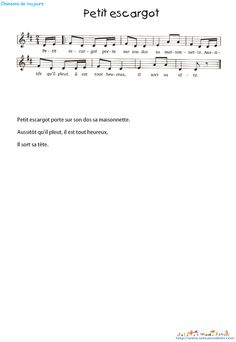Petit escargot  texte et partition                                                                                                                                                                                 Plus Partition Flute A Bec, Partition Piano, Saxophone, Music Ed, Sheet Music, How Did It Go, Kalimba, Teaching Music, Singing