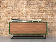 Midcentury modern sideboard  walnut green and black