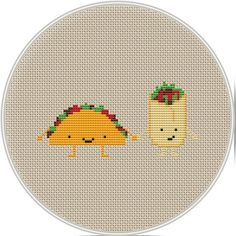 Cute burrito and tacos Cross Stitch Pattern by MagicCrossStitch