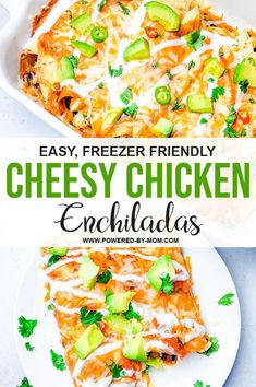 Freezer Friendly Cheesy Chicken Enchiladas are the delicious weeknight meal you can prepare in advance for fast and delicious meals everyone loves! You can customize these enchiladas with your favourite fillings and toppings! Chicken Appetizers, Chicken Recipes, Casserole Dishes, Casserole Recipes, Asian Chopped Salad, Meals Everyone Loves, Cheesy Chicken Enchiladas, Enchilada Recipes, Weeknight Meals